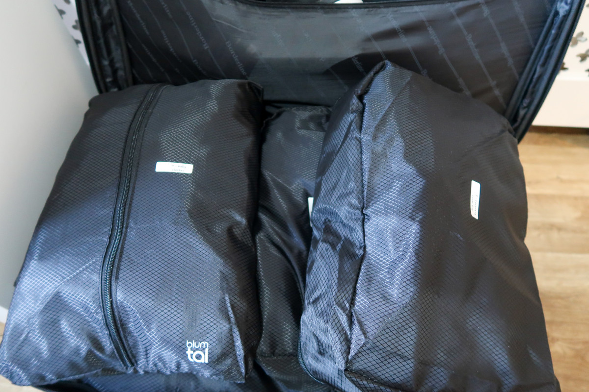 Packing cubes in a suitcase for my c section hospital bag