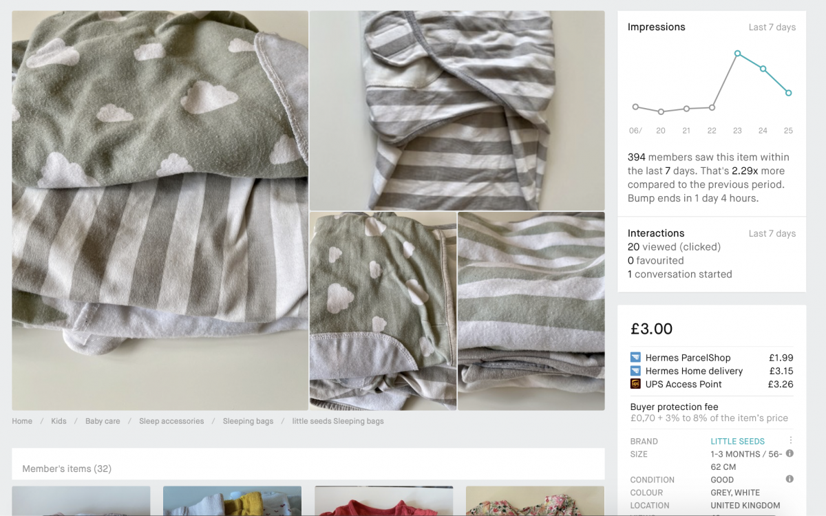 An example of a Vinted bumped listing