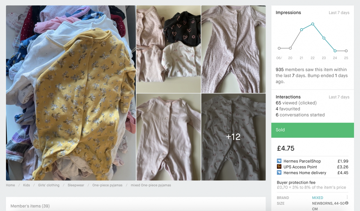 A look at the impressions for a bumped Vinted bundle