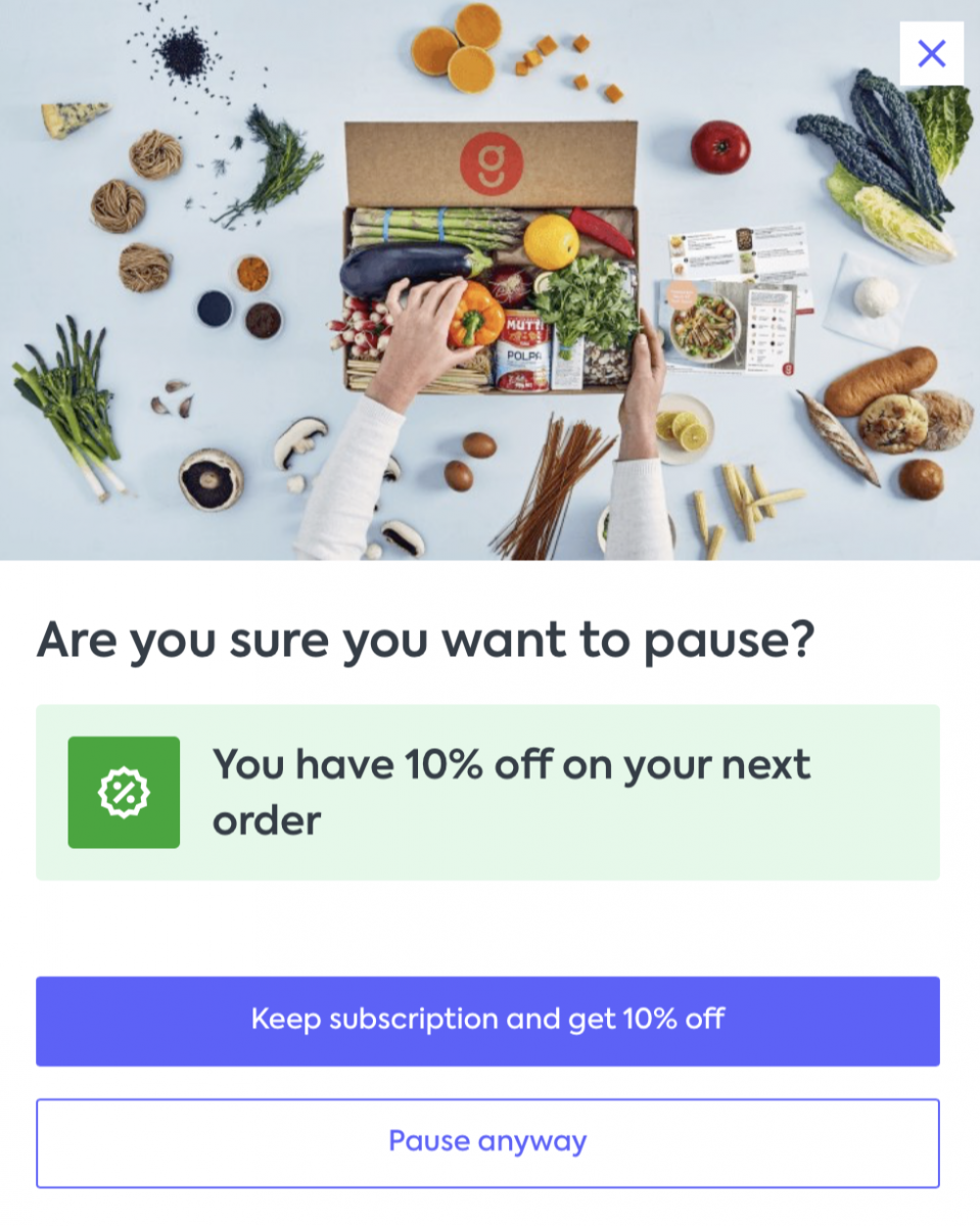 A 10% off discount offer from Gousto in exchange for not cancelling an order