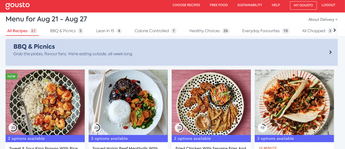 A look at a Gousto menu with recipes