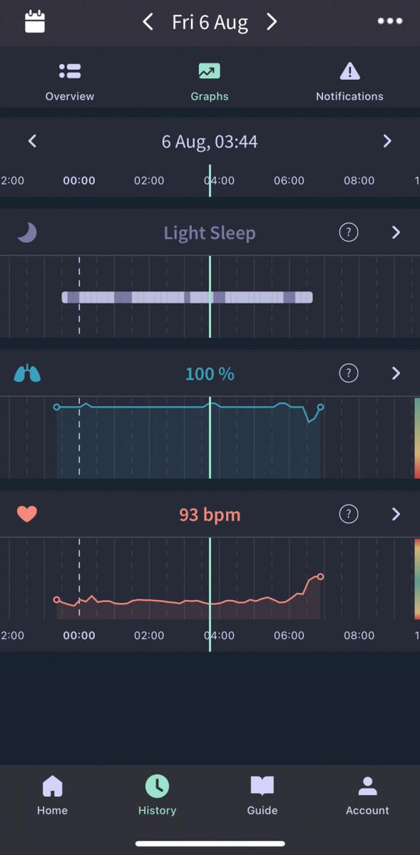 Light sleep and deep sleep indication on Owlet