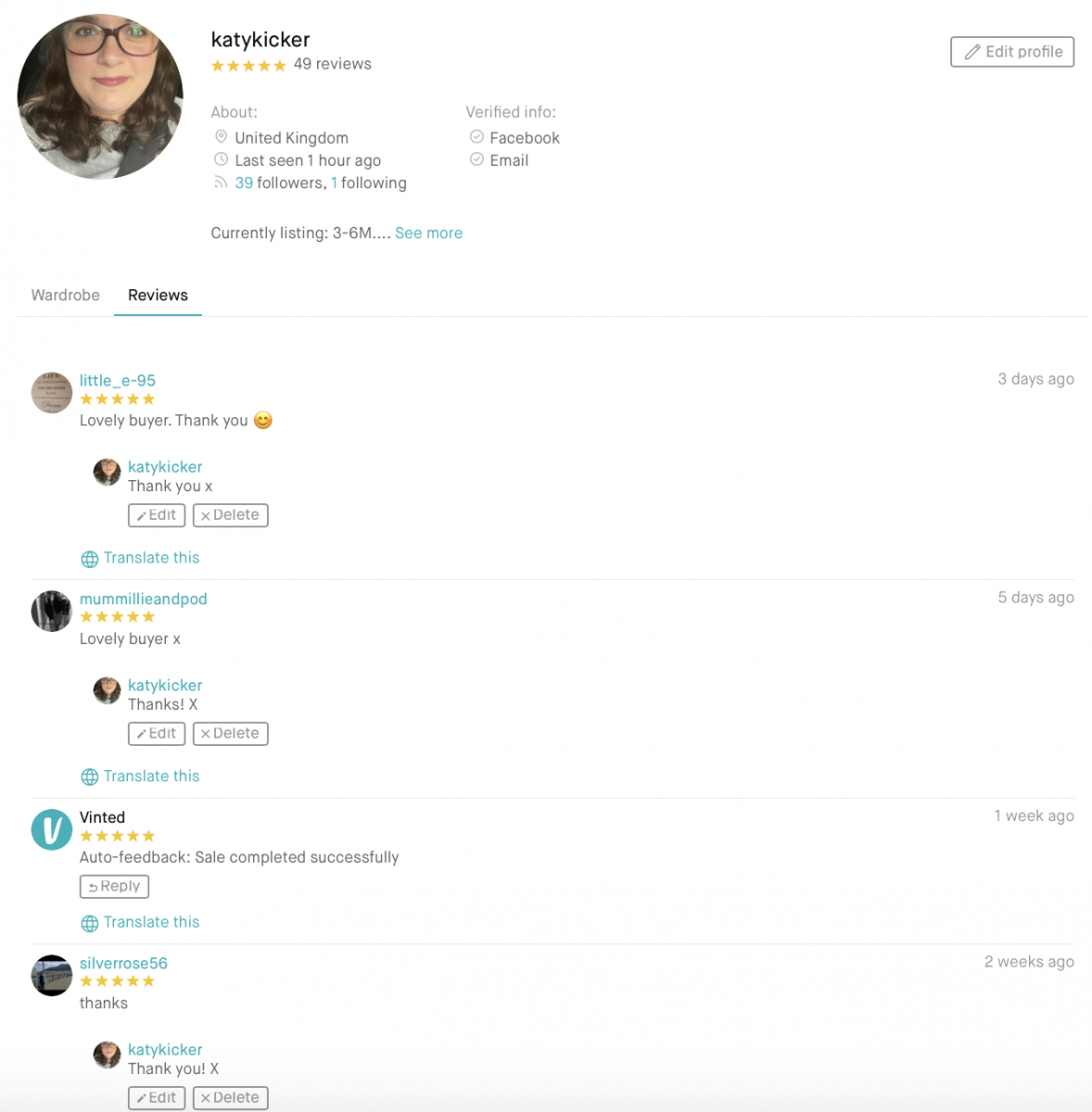 Feedback on a profile on the Vinted website