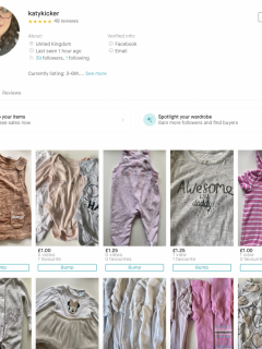 A look at listings on a Vinted profile
